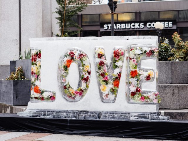 ice sculpture that spells LOVE