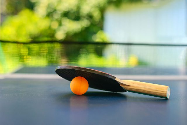 Ping pong paddle and ball resting on a table with greenery behind them.