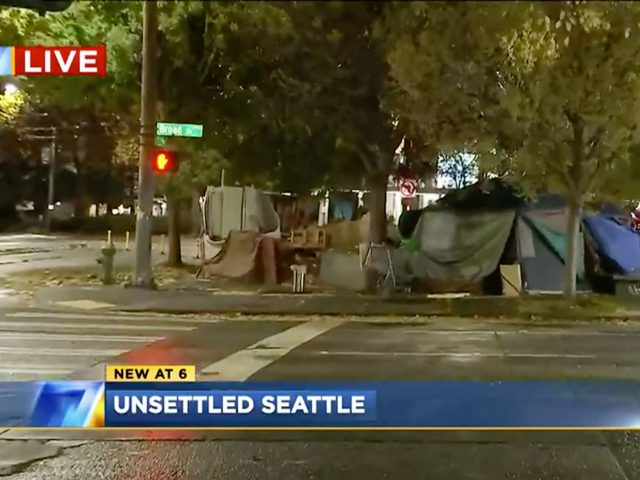 Homeless encampment on KIRO-TV news