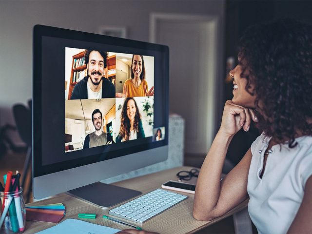 Young woman on a virtual meeting